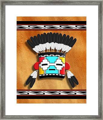 Native American Indian Kachina Mask Framed Print by John Wills