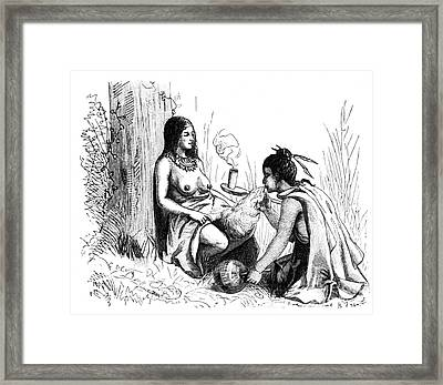 Native American Indian Midwifery, 1877 Framed Print by Science Source