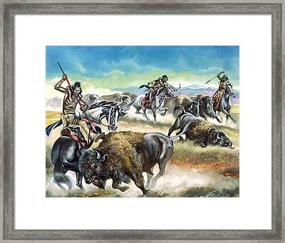 Native American Indians Killing American Bison Framed Print by Ron Embleton