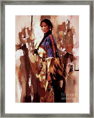 Native American Lady 03  Framed Print by Gull G