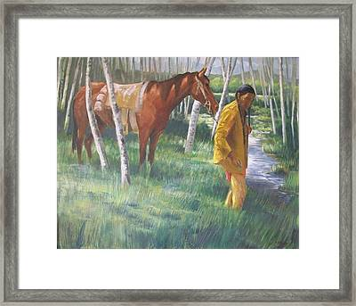 Native American Leading Horse Framed Print