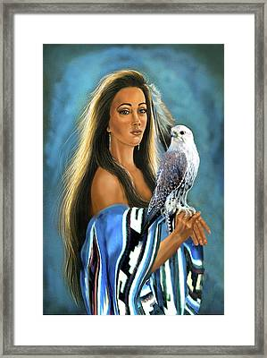 Native American Maiden With Falcon Framed Print by Regina Femrite
