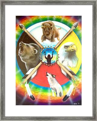 Native American Medicine Wheel Framed Print by Amatzia Baruchi