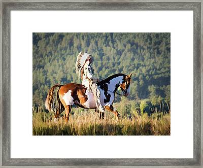 Native American On His Paint Horse Framed Print