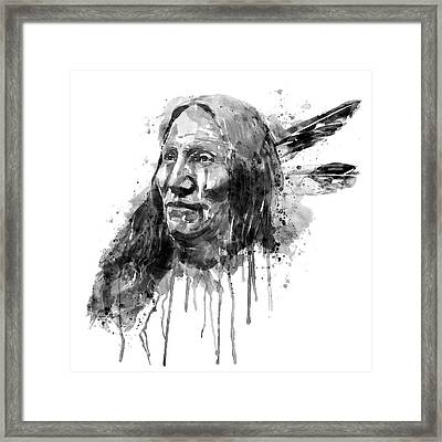 Native American Portrait Black And White Framed Print