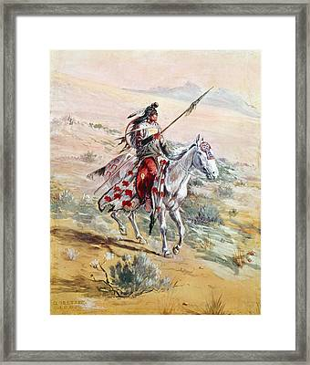 Native American Warrior Framed Print by Granger