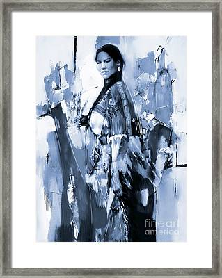 Native American Woman 09 Framed Print by Gull G