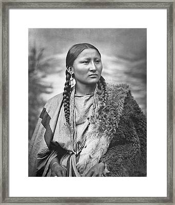 Native American Woman War Chief Pretty Nose Framed Print by MotionAge Designs