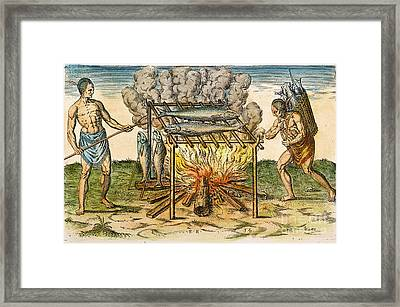 Native Americans: Barbecue, 1590 Framed Print by Granger