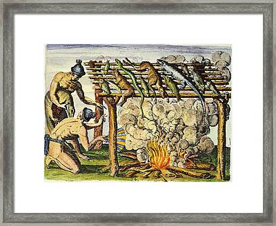 Native Americans: Barbecue, 1591 Framed Print