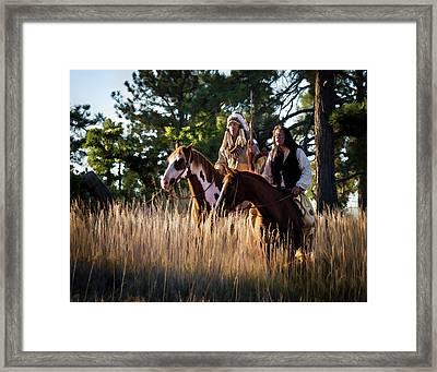 Native Americans On Horses In The Morning Light Framed Print