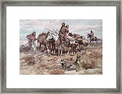Native Americans Plains People Moving Camp Framed Print by Charles Marion Russell