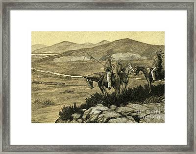 Native Americans Watching A Locomotive Traverse The American West Framed Print by American School