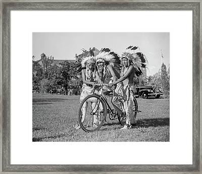 Native Americans With Bicycle Framed Print