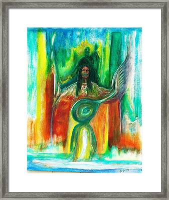 Framed Print featuring the painting Native Awakenings by Kicking Bear  Productions
