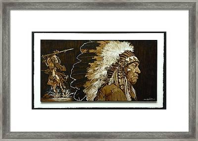 Native Chief  Pyrography Framed Print by Adin Begic