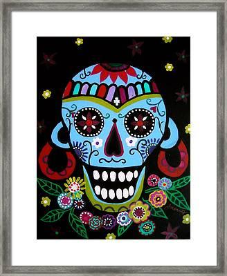 Framed Print featuring the painting Native Dia De Los Muertos Skull by Pristine Cartera Turkus