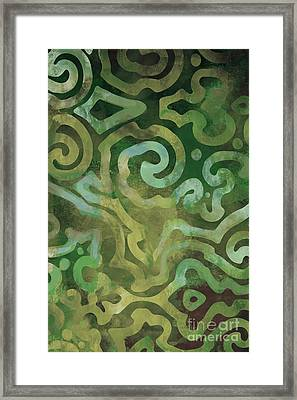 Native Elements In Green Framed Print