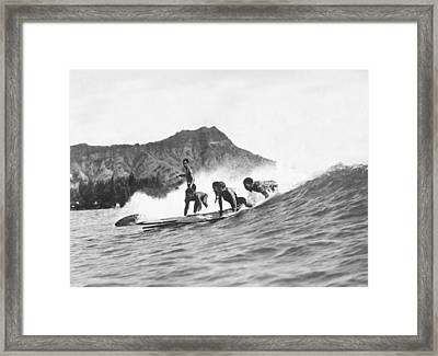Native Hawaiians Surfing Framed Print by Underwood Archives