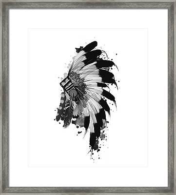 Native Headdress Black And White Framed Print