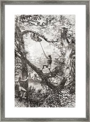 Native Indians Capturing A Tree Sloth Framed Print