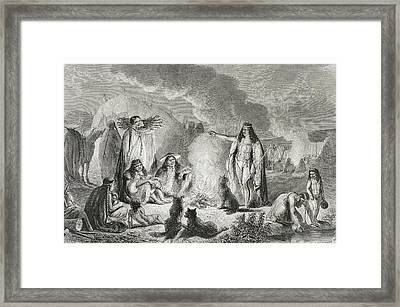 Native Patagonians In The 1850s Framed Print by Vintage Design Pics