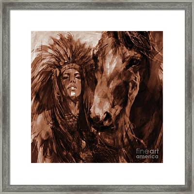 Native Woman With Horse Framed Print