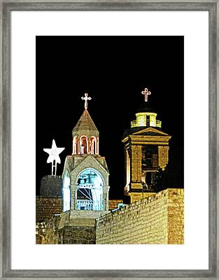 Nativity Church Lights Framed Print