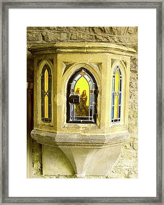Nativity In Ancient Stone Wall Framed Print
