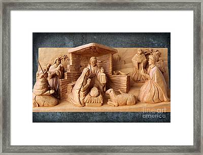 Nativity On Patina By George Wood Framed Print by Karen Adams