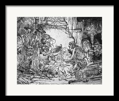 Virgin Mary Drawings Framed Prints