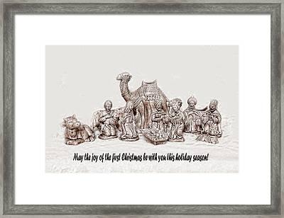 Nativity Scene In Sepia Framed Print by Linda Phelps