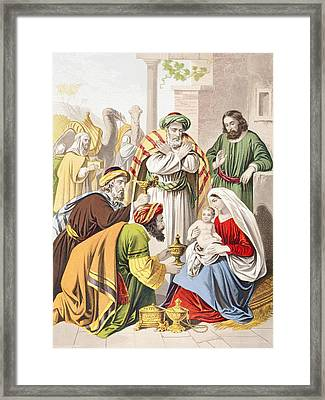 Nativity Scene. The Three Wise Men With Framed Print by Vintage Design Pics