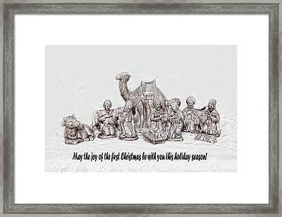 Nativity Scenne Sketch Framed Print by Linda Phelps
