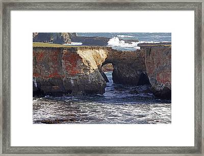 Natural Bridge At Point Arena Framed Print by Mick Anderson