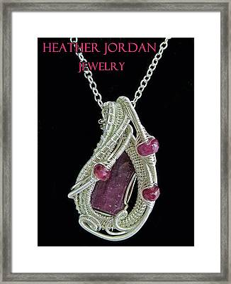 Natural Ruby Gemstone Wire-wrapped Pendant In Sterling Silver With Pink Sapphire Rbpss2 Framed Print