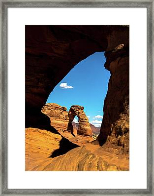 Nature Framing The Delicate Arch - Moab Utah Framed Print