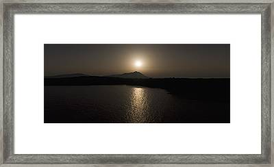 Black And White Orange Nature Landscape Panorama Art Work Photography Framed Print by Artecco Fine Art Photography
