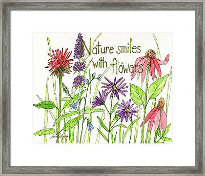 Nature Smile With Flowers Framed Print