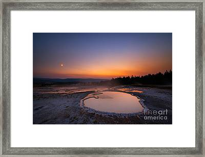 Natures Jacuzzi Yellowstone Hot Spring Sunset Framed Print