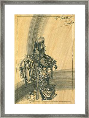 Naturmort With Clothes On Chair Framed Print