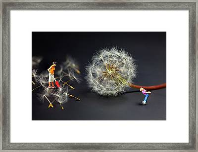 Framed Print featuring the painting Naughty Girl Playing Dandelion Little People Big World by Paul Ge