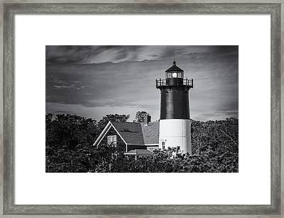Nauset Lighthouse Bw Framed Print by Joan Carroll