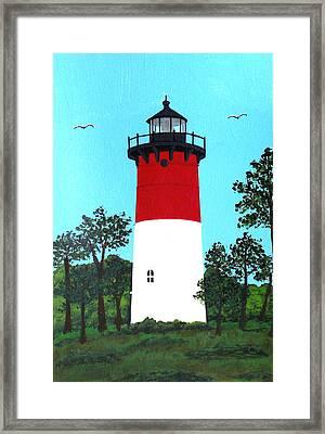 Nauset Lighthouse Tower Painting Framed Print by Frederic Kohli
