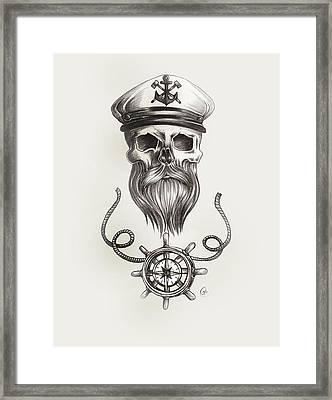 Nautical Bearded Skull Framed Print by Jasmine Mills