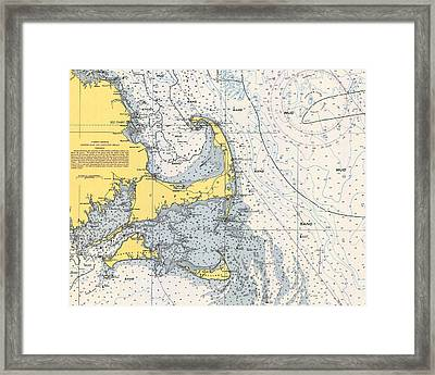 Vintage Cape Cod Nautical Chart 1945h Framed Print