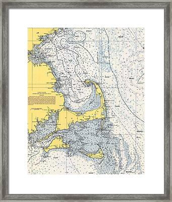 Vintage Cape Cod Nautical Chart 1945v Framed Print