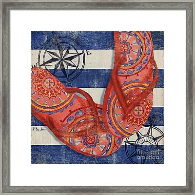 Nautical Flip Flops I Framed Print by Paul Brent