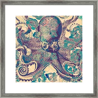 Nautical Octopus Framed Print by Brandi Fitzgerald