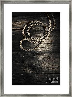 Nautical Rope On Boat Deck. Maritime Knots Framed Print